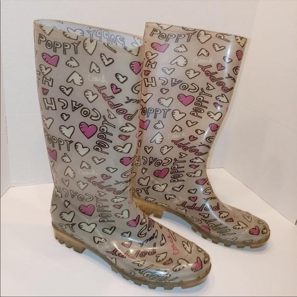 Coach Pixy Poppy Valentine Hearts Rain Boots